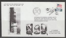 ENVELOPPE SOUVENIR DES ETATS-UNIS - DECOLLAGE DE L'EQUIPAGE DE SKYLAB (TIMBRE DRAPEAU) - Etats-Unis