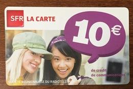 RÉUNION SFR FILLES RECHARGE GSM 10 EURO EXP 01/13 CARTE PRÉPAYÉE PREPAID PHONECARD CARD PAS TÉLÉCARTE - Réunion