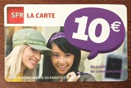 RÉUNION SFR FILLES RECHARGE GSM 10 EURO EXP 05/12 CARTE PRÉPAYÉE PREPAID PHONECARD CARD PAS TÉLÉCARTE - Réunion