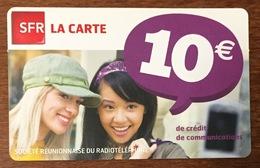 RÉUNION SFR FILLES RECHARGE GSM 10 EURO EXP 10/12 CARTE PRÉPAYÉE PREPAID PHONECARD CARD PAS TÉLÉCARTE - Réunion