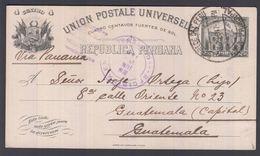 1917. PERU. UNION POSTALE UNIVERSELLE REPUBLICA PERUANA 4 CUATRO CENTAVOS 1897 To Gua... () - JF362037 - Guatemala