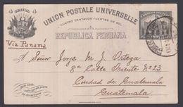 1918. PERU. UNION POSTALE UNIVERSELLE REPUBLICA PERUANA 4 CUATRO CENTAVOS 1897 To Gua... () - JF362039 - Guatemala
