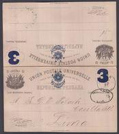 1895. PERU. UNION POSTALE UNIVERSELLE REPUBLICA PERUANA 3 TRES CENTAVOS CON RESPUESTA... () - JF362041 - Peru