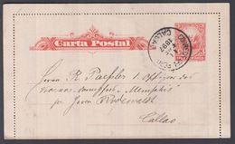1897. PERU. Carta Postal 3 TRES CENTAVOS Locally In  CALLAO 11 ENE 1897. () - JF362042 - Peru