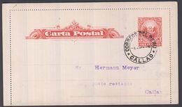 1896. PERU. Carta Postal 3 TRES CENTAVOS Locally In  CALLAO -8? 1896. () - JF362044 - Peru