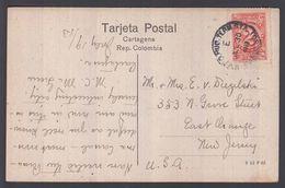 1913. COLOMBIA 2 C. On Postcard CARTAGENA. Pie Del Cerro De San Felipe To New Jersey,... () - JF362066 - Colombia