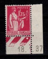 YV 289 N* (trace) Petit Coin Daté , Type Paix Cote 5 Euros - Nuevos