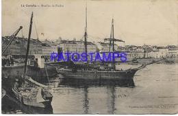 134394 SPAIN ESPAÑA LA CORUÑA GALICIA MUELLES DE PIEDRA & SHIP CIRCULATED TO ARGENTINA BREAK POSTAL POSTCARD - España
