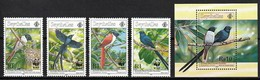 1996 Seychelles WWF Paradise Flycatcher Set And Souvenir Sheet (** / MNH / UMM) - Pájaros Cantores (Passeri)