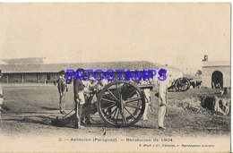 134408 PARAGUAY ASUNCION REVOLUCION DE 1904 COSTUMES SOLDIER WITH CANYON POSTAL POSTCARD - Paraguay