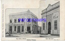134412 PARAGUAY ASUNCION BANK BANCO MERCANTIL ESQ. COLON Y PALMAS MULTI VIEW POSTAL POSTCARD - Paraguay