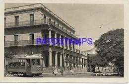 134433 PARAGUAY ASUNCION CALLE STREET PALMA & TRAMWAY TRANVIA CIRCULATED TO US POSTAL POSTCARD - Paraguay