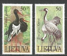 1991Lithuania489-490Storks And Cranes - Storks & Long-legged Wading Birds