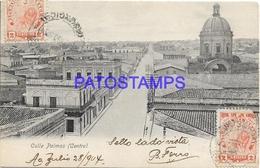 134436 PARAGUAY CENTRO STREET CALLE PALMAS YEAR 1904 CIRCULATED TO URUGUAY POSTAL POSTCARD - Paraguay