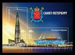 Russia 2019 Mih. 2794/95 (Bl.287) Lakhta Center Skyscraper And Gazprom Arena Football Stadium In St. Petersburg MNH ** - 1992-.... Fédération