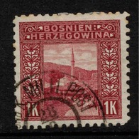 BOSNIA & HERZEGOVINA 1906 1Kr Lake P 9.5 SG 199B U ZZ200 - Bosnia And Herzegovina