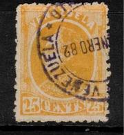 VENEZUELA 1880 25c Yellow SG 109 U ZZ189 - Venezuela