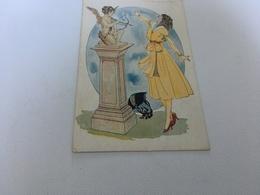 AF - 6 - Femme Et Statue De L'angelot - Tir à L'Arc