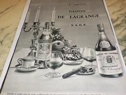 ANCIENNE PUBLICITE  COGNAC GASTON DE LAGRANGE 1961 - Alcools