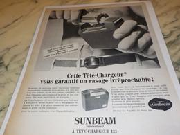 ANCIENNE  PUBLICITE TETE CHARGEUR LA SUNBEAM  1960 - Parfums & Beauté