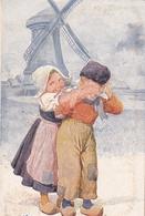 Karl Feiertag Deux Enfants Hollandais Moulin - Feiertag, Karl