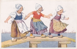 Karl Feiertag Trois Petites Hollandaises  Sur Un Ponton - Feiertag, Karl