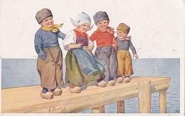 Karl Feiertag Quatre Petits Hollandais  Sur Un Ponton - Feiertag, Karl