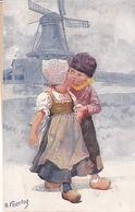 Karl Feiertag Deux Petits Hollandais S'embrassant Moulin - Feiertag, Karl