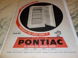 ANCIENNE PUBLICITEPOURQUOI PAS CHEZ VOUS  FRIGO PONTIAC 1960 - Advertising