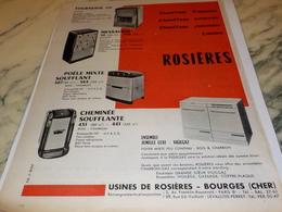 ANCIENNE PUBLICITE CHAUFFAGE ROSIERES 1960 - Reklame