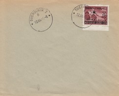 Yugoslavia 1945 Letter With Provisional Partisan Stamp Split 20/3.50 Kn, Postmark Dubrovnik 2 - 1945-1992 Socialist Federal Republic Of Yugoslavia