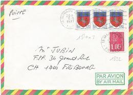 BLASON 20C SAINT LO BANDE DE 3 LETTRE AVION SECAP 13 MARIGNANE AEROPORT 5.5.1977 + 1FR BEQUET TAD POUR SUISSE - 1941-66 Armoiries Et Blasons