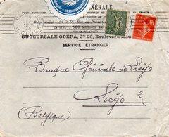 Lettre (courrier Bancaire) De PARIS Vers Liège - Collant Censure Generalkommissar Für Die Banken In Belgien - Autres Lettres