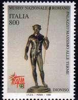 ITALIA REPUBBLICA ITALY REPUBLIC 1998 ESPOSIZIONE MONDIALE FILATELIA 98 GIORNATA ARTE STATUA BRONZO DIONISO LIRE 800 MNH - 6. 1946-.. Repubblica