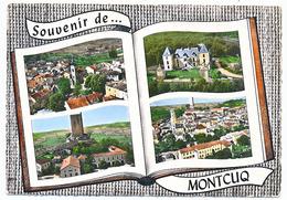 CPSM Dentelée 10.5 X 15 Lot  MONTCUQ L'Eglise Château De Figeac  La Tour Du XII° S. Vue Générale - Montcuq