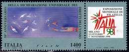 ITALIA REPUBBLICA ITALY REPUBLIC 1998 ESPOSIZIONE MONDIALE DI FILATELIA ITALIA 98 DIRITTI DELL'UOMO LIRE 1400 MNH - 1991-00:  Nuovi