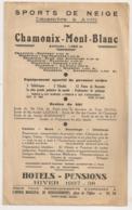 CHAMONIX MONT BLANC / HIVER 1937 1938 N13 - Tourism Brochures