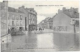 NANTES : LES INONDATIONS FEVRIER 1904 - DOULON- LA CITE ROBERT ET LE BOULEVARD DE LA LIBERTE - Nantes