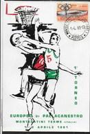 PALLACANESTRO - CARTOLINA EUROPEO DI PALLACANESTRO-MONTECATINI TERME 1/2 APRILE 1981 - ANNULLO MONTECATINI TERME - Basketball