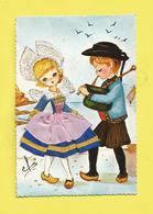 Carte Brodée Région Bretagne Enfants En Costume  De PONT-AVEN  En Bord De Mer Signée Efsi  Carte écrite Ou Voyagée - Bretagne