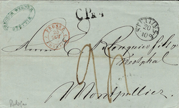 1847 - Lettre De STETTIN ( Pologne ) En Port Du - CP R 4 Taxe 24 D.  Pour Montpellier -entrée Par Forbach - Poland