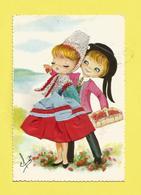 Carte Brodée Région Bretagne Enfants En Costume  De PLOUGASTEL  Signée Efsi  Carte écrite Ou Voyagée Et Leur Panier De F - Bretagne