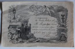 Hippolyte Louis Paroissse De Menil Hubert Sur Orne 1905 Invitation à Passer Une 1/2 Heure D'adoration Signé Par Curé - Diploma & School Reports