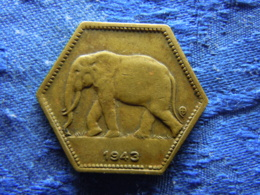 CONGO BELGIAN 2 FRANCS 1943, KM28 - Congo (Belga) & Ruanda-Urundi