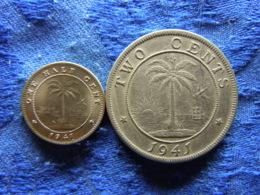 LIBERIA 1/2 CENT 1941 KM10a, 2 CENTS 1941 KM12a - Liberia