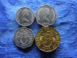 SEYCHELLES 1 CENT 1972 KM17, 5 CENTS 1972 KM18, 1977 KM31, 10 CENTS 1977 KM32 - Seychelles