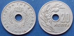 "GREECE - 20 Lepta 1954 ""olives"" KM# 79 Paul I (1947-1964) - Edelweiss Coins - Greece"