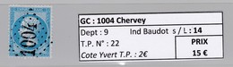 GC 1004 Chervey ( Dept 9 ) S / N° 22 - Marcophilie (Timbres Détachés)