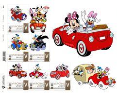 Ukraine 2018, Cars, Disney Cartoon Characters, Sheetlet Of 6v - Ukraine