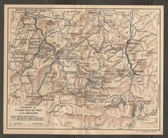 CARTE PLAN 1925 - PYRÉNÉES - EXCURSIONS De St JEAN PIED De PORT Et De MAULÉON - ROUTES SENTIERS - Mapas Topográficas